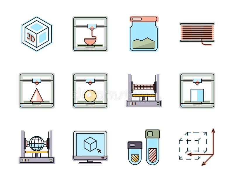 Tecnología de la línea de impresión 3D iconos fijados ilustración del vector