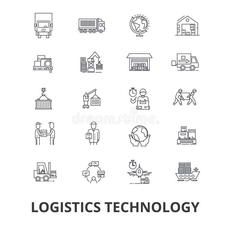 Tecnología de la logística, transporte, cadena de suministro, sistema de envío, almacén, línea iconos del cargo Movimientos Edita stock de ilustración