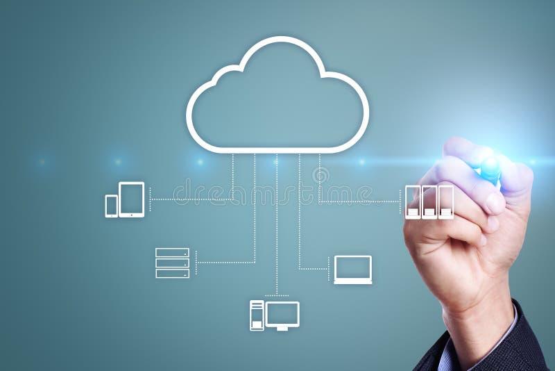 Tecnología de la nube Almacenamiento de datos Concepto del servicio del establecimiento de una red y de Internet fotos de archivo