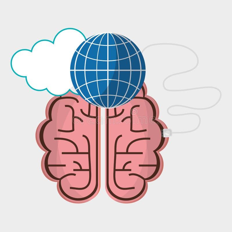 Tecnología de la nube del globo de la conexión del cerebro ilustración del vector