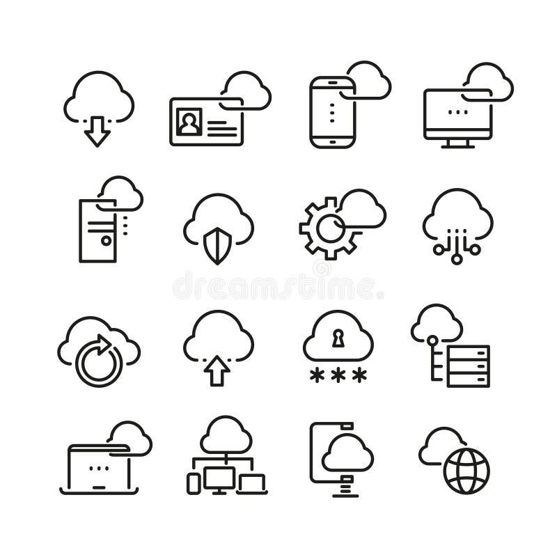 Tecnología de la nube del ordenador, seguridad de datos, línea fina iconos del vector de la perfección del acceso ilustración del vector