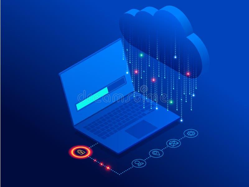 Tecnología de la nube y concepto modernos isométricos del establecimiento de una red Negocio de la tecnología de la nube del web  ilustración del vector