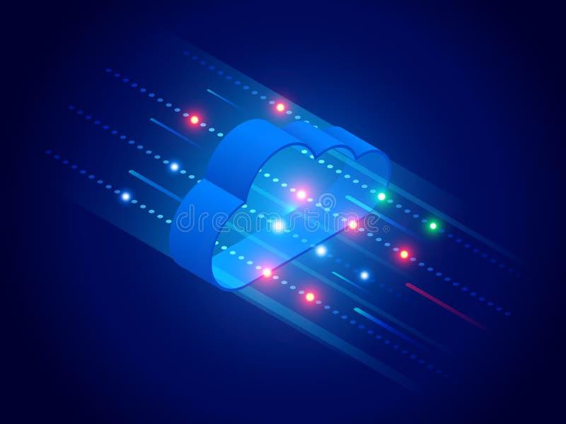Tecnología de la nube y concepto modernos isométricos del establecimiento de una red Negocio de la tecnología de la nube del web  libre illustration
