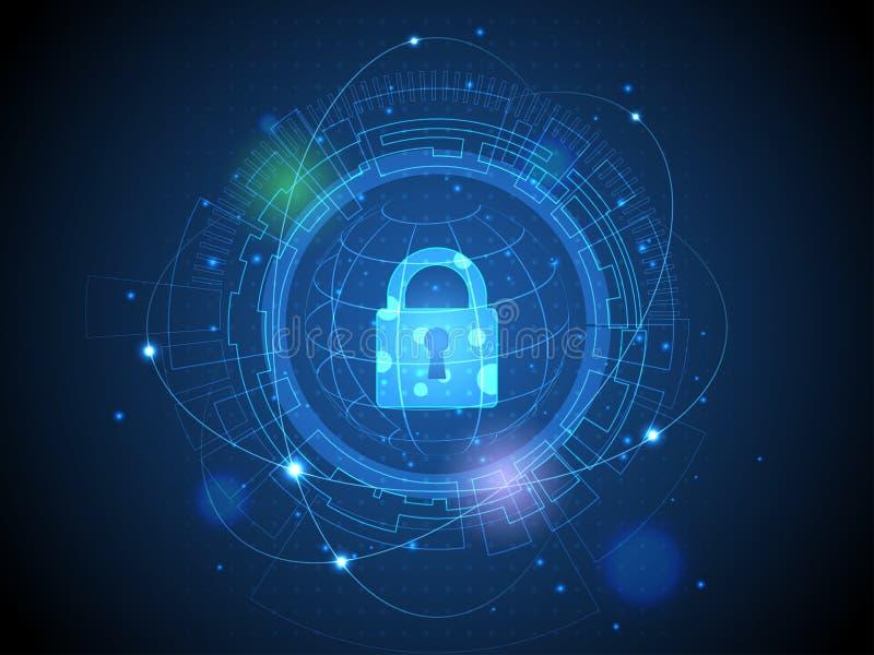 Tecnología de la red cibernética del futuro de la seguridad y de los interfaces stock de ilustración