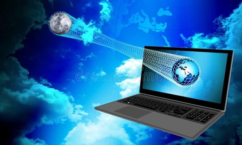 Tecnología de la red de ordenadores del mundo con las nubes Comunicaci?n de la tecnolog?a imagenes de archivo