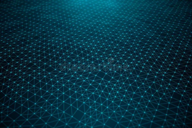 Tecnología de los datos, red global abstracta Conexión global, puntos de la conexión de red y líneas en fondo azul ilustración del vector