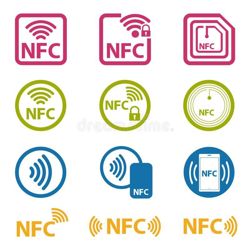 Tecnología de NFC - icono fijado - ejemplo colorido del vector - aislado en el fondo blanco stock de ilustración