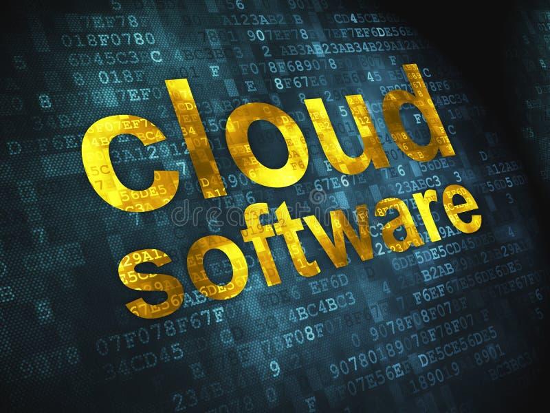 Tecnología de ordenadores de la nube, concepto del establecimiento de una red: ilustración del vector