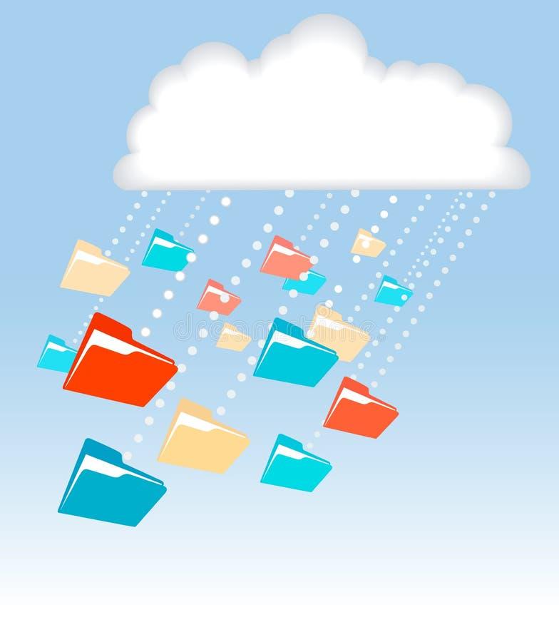 Tecnología de ordenadores de la nube de lluvia de la carpeta del fichero de datos ilustración del vector