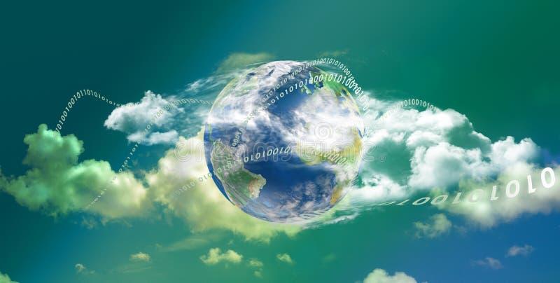 Tecnología de ordenadores de la nube panorámica stock de ilustración