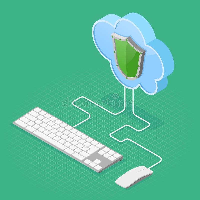 Tecnología de ordenadores de la nube isométrica stock de ilustración
