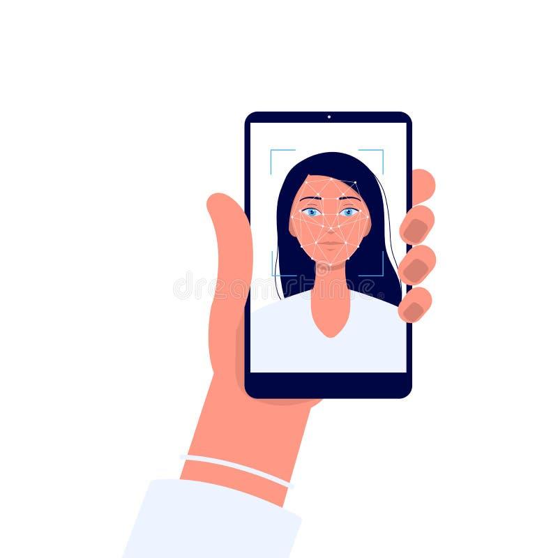 Tecnología de reconocimiento facial - mano sosteniendo un teléfono con una mujer caricaturista en la pantalla libre illustration