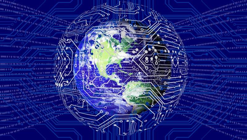 Tecnología de red del mundo Comunicaci?n de la tecnolog?a ilustración del vector