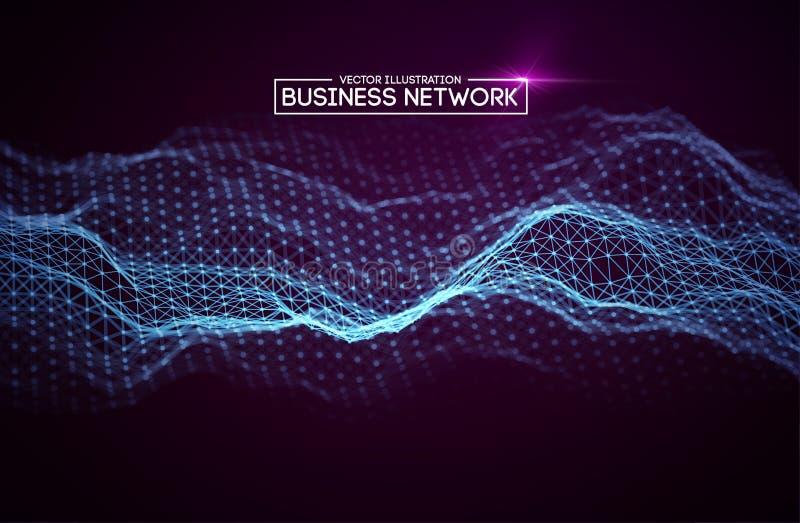 Tecnología de red del negocio Crecimiento de Internet y red de la tecnología Elementos poligonales de la conexión de Abstact ilustración del vector