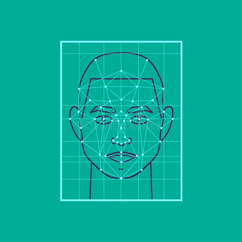 Tecnología de seguridad moderna Identificación de la personalidad por los puntos, un icono de una persona en el vector stock de ilustración