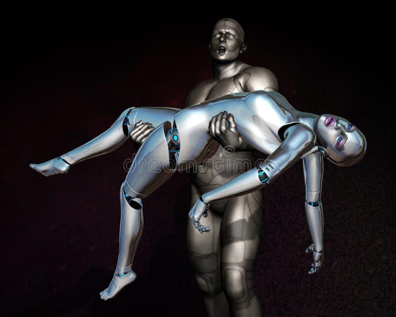 Tecnología del amor de la fantasía de la ciencia ficción ilustración del vector