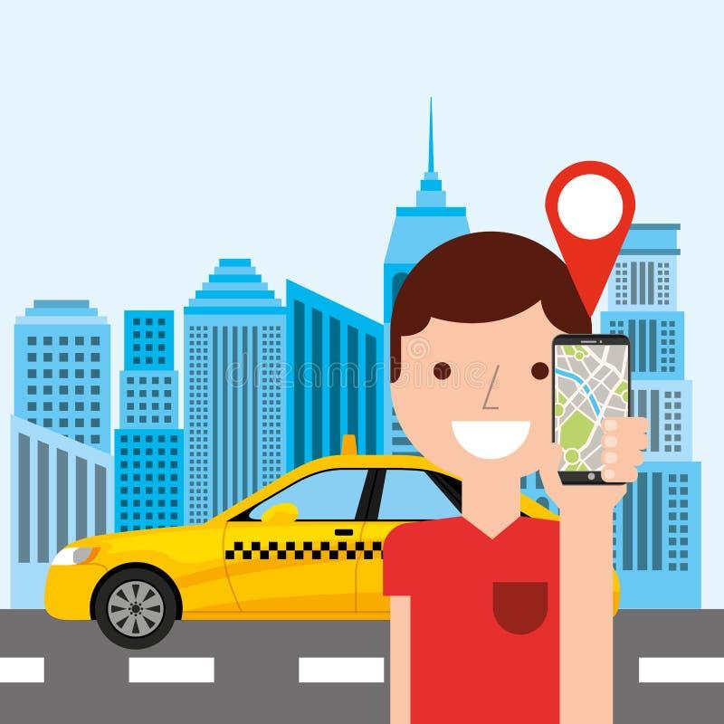 tecnología del app del transporte público del servicio del taxi ilustración del vector