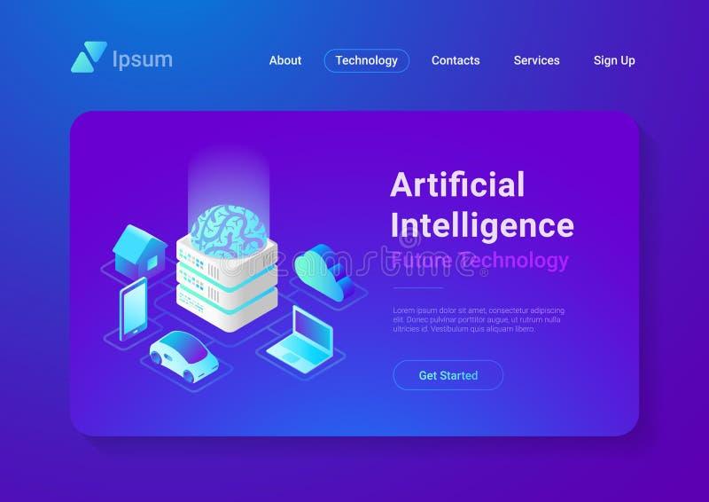 Tecnología del cerebro de la inteligencia artificial isométrica ilustración del vector