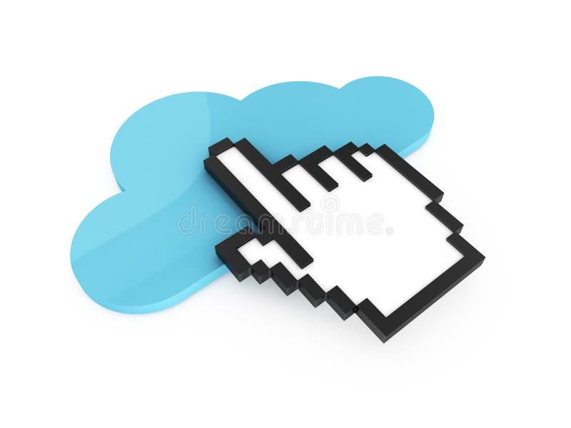 Tecnología del cursor y de la nube de la mano stock de ilustración