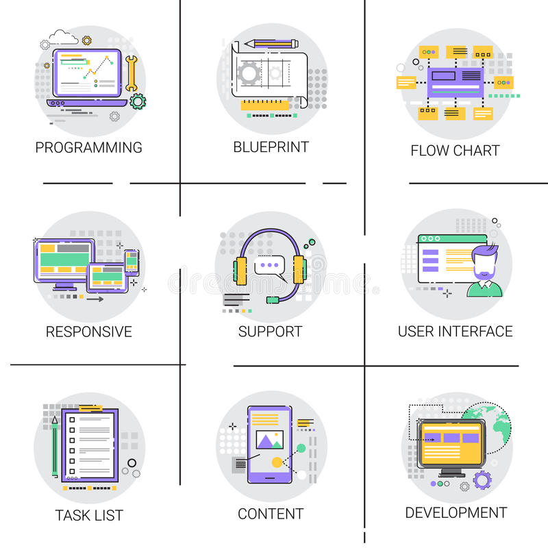 Tecnología del dispositivo de programación de equipo de desarrollo del interfaz de la aplicación de software stock de ilustración