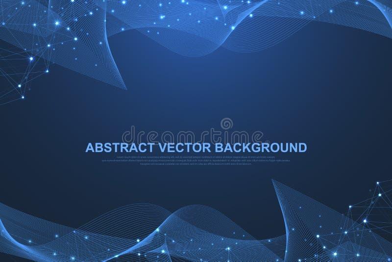 Tecnología del extracto del concepto de la conexión del establecimiento de una red Conexiones de red global con los puntos y las  ilustración del vector