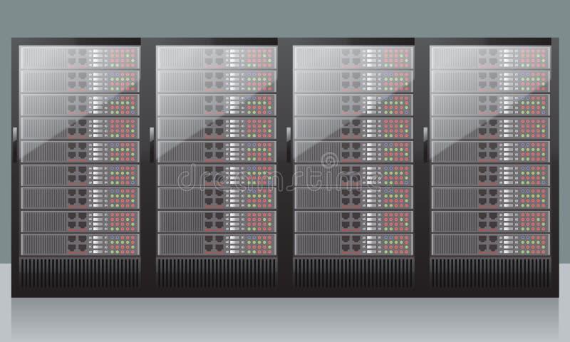 Tecnología del hardware de servidores de red aislada en el fondo blanco Vector realista ilustración del vector