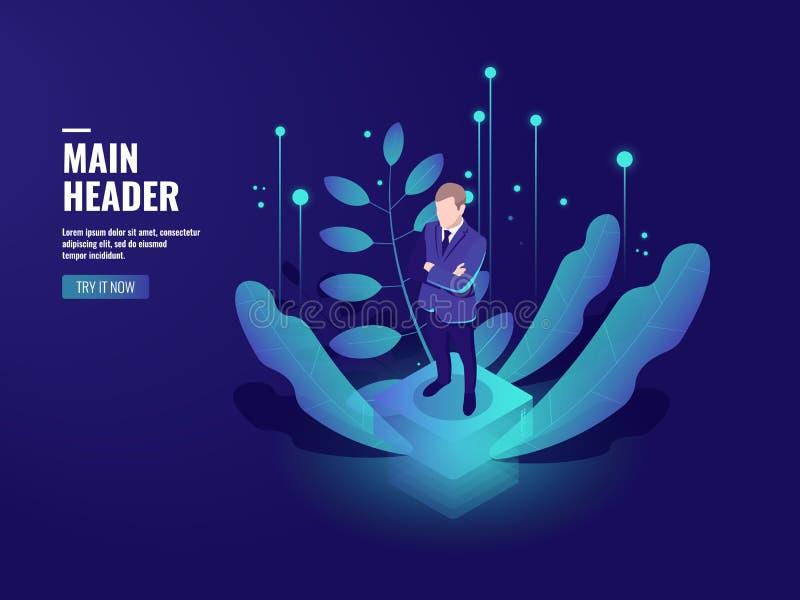 Tecnología del negocio, icono de las actividades bancarias en línea, cryptocurrency, estancia del hombre de negocios en la plataf libre illustration