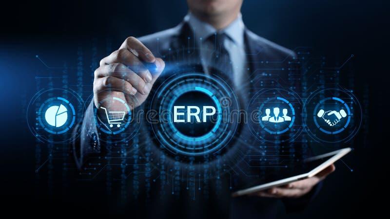 Tecnología del negocio del software del sistema de planeamiento de los recursos de la empresa del ERP fotografía de archivo libre de regalías