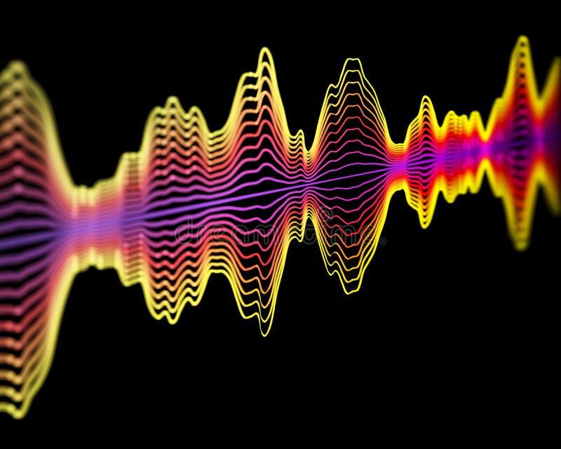 Tecnología del reconocimiento de voz o concepto de la registración sana: ondas acústicas multicoloras stock de ilustración