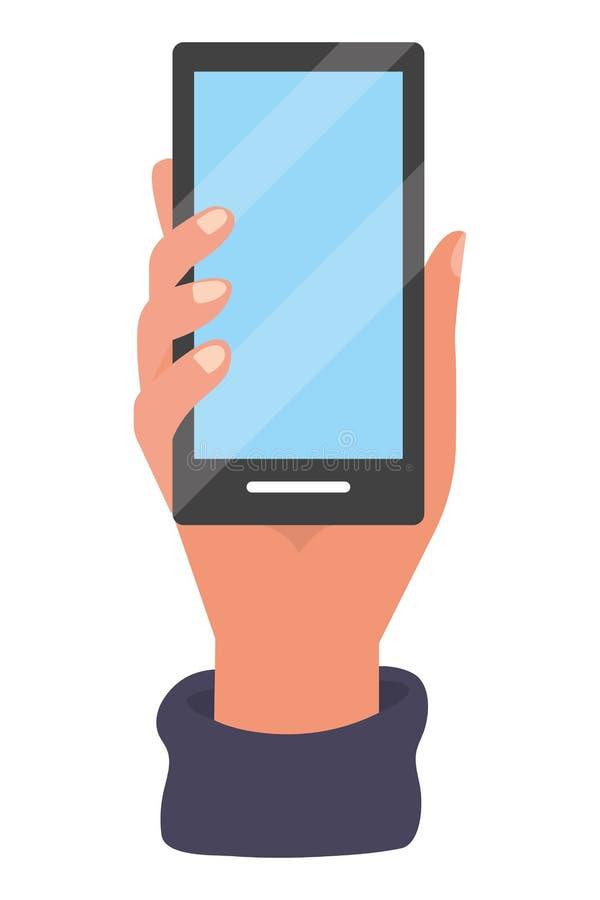 Tecnología del smartphone de la tenencia de la mano libre illustration