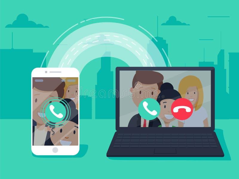 Tecnología del VoIP, voz sobre el IP, concepto de la telefonía del IP Smartphone con la llamada saliente, ordenador con llamada e ilustración del vector