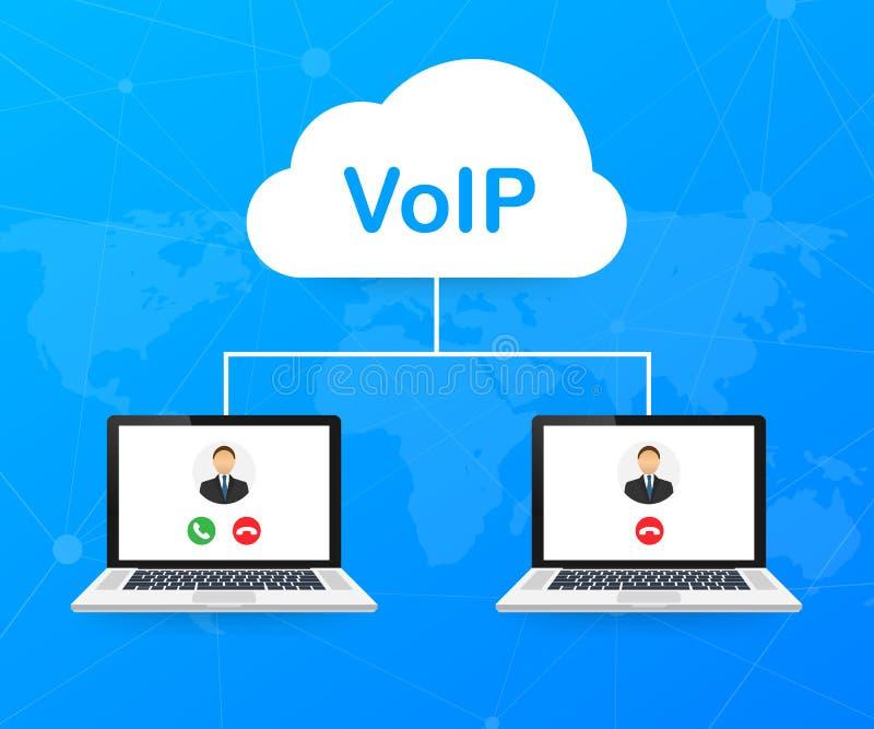 Tecnología del VoIP, voz sobre el IP Internet que llama la bandera Ilustración del vector stock de ilustración