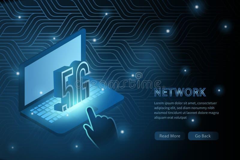 tecnología del wifi 5G y línea de marco de la cruz de la geometría del ordenador portátil fondo futurista de la plantilla del eje ilustración del vector