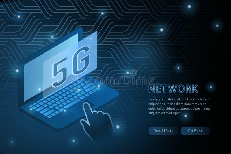 tecnología del wifi 5G y línea de marco de la cruz de la geometría del ordenador portátil fondo futurista de la plantilla del eje libre illustration