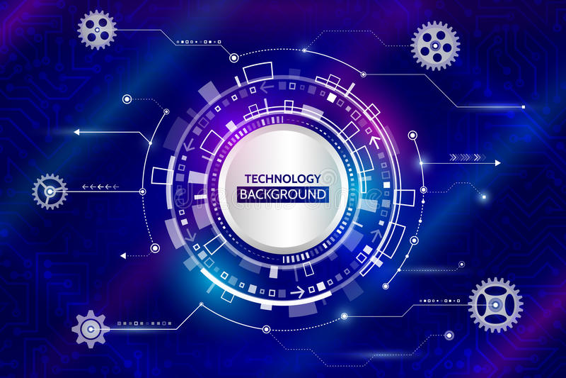 Tecnología digital abstracta y elementos mecánicos futurista ilustración del vector