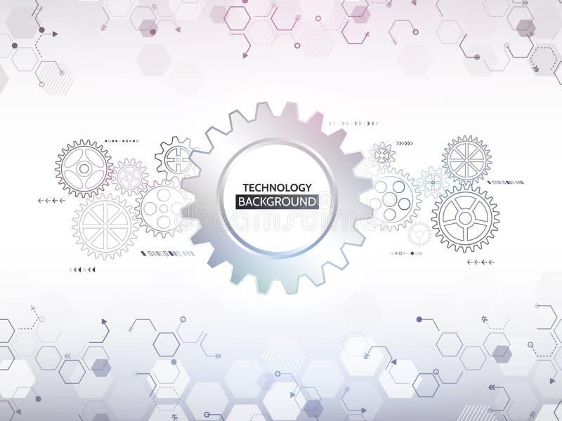 Tecnología digital abstracta y elementos mecánicos futurista stock de ilustración