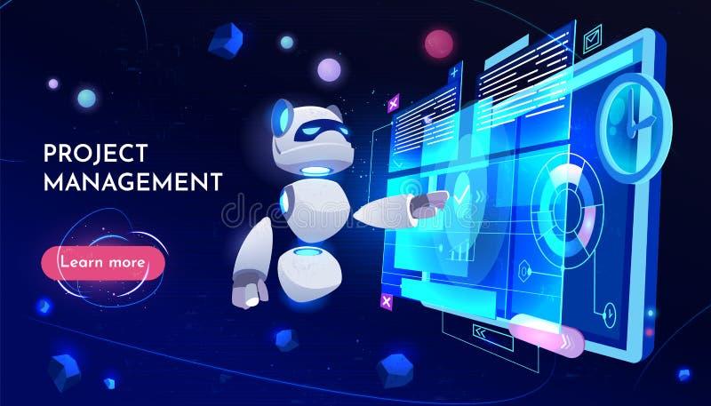 Tecnología digital de aterrizaje de la página de la gestión del proyecto libre illustration