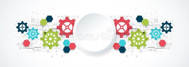 Tecnología digital de la rueda dentada y fondo de alta tecnología de la ingeniería ilustración del vector