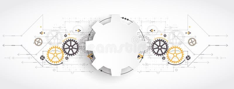 Tecnología digital e ingeniería de alta tecnología, tecnología digital stock de ilustración