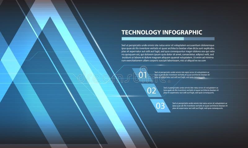 Tecnología digital infographic, fondo futurista del triángulo abstracto del concepto de los elementos de la estructura stock de ilustración