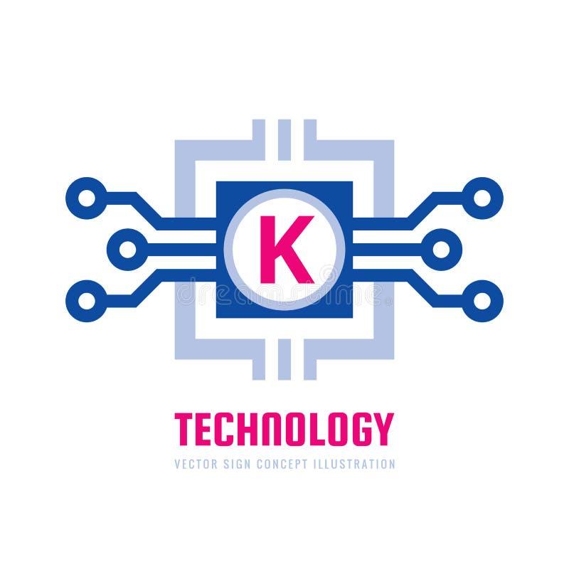 Tecnología - ejemplo del concepto de la plantilla del logotipo del negocio del vector Muestra creativa de la letra K Símbolo de l stock de ilustración