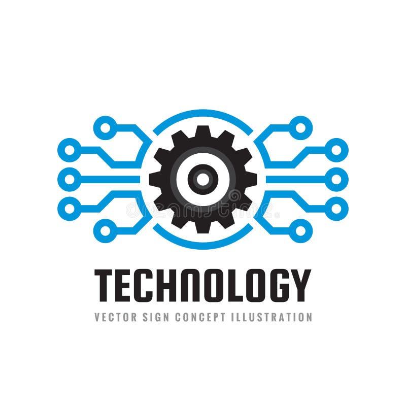 Tecnología - ejemplo del vector de la plantilla del logotipo del negocio del concepto Símbolos del mundo y del engranaje del glob stock de ilustración