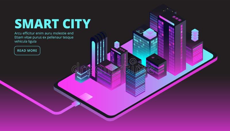 Tecnología elegante de la ciudad Edificios inteligentes en la ciudad futura Bandera isométrica del vector 3d stock de ilustración