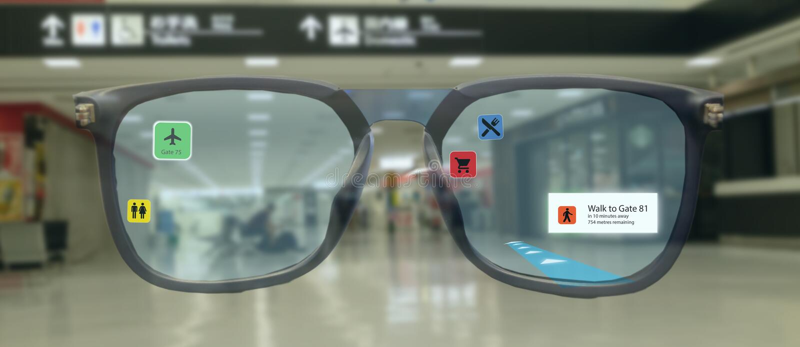 Tecnología elegante en el móvil 4 de la industria 0 o 5 0 conceptos, usuario utilizar los vidrios elegantes con tecnología mezcla stock de ilustración
