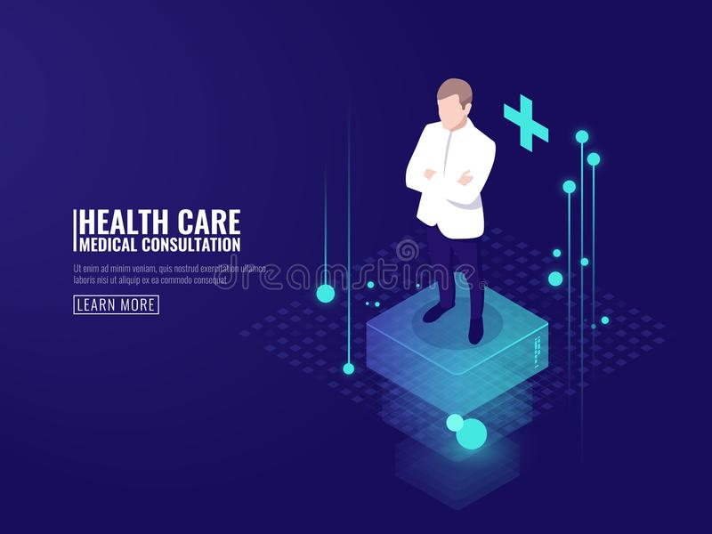 Tecnología elegante en la atención sanitaria, estancia del doctor en la plataforma, oscuridad isométrica en línea del vector de l stock de ilustración