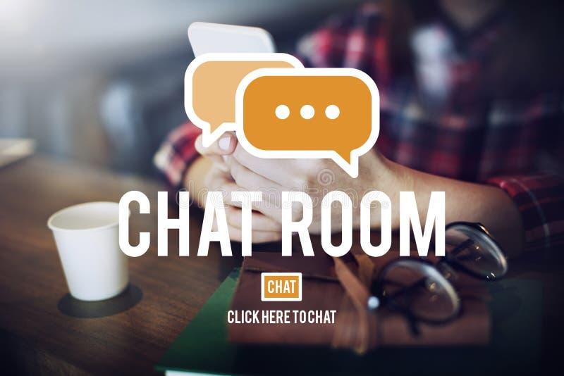 Tecnología en línea C de la conexión de la comunicación de la mensajería de la sala de chat fotografía de archivo