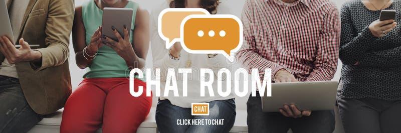 Tecnología en línea C de la conexión de la comunicación de la mensajería de la sala de chat fotos de archivo libres de regalías