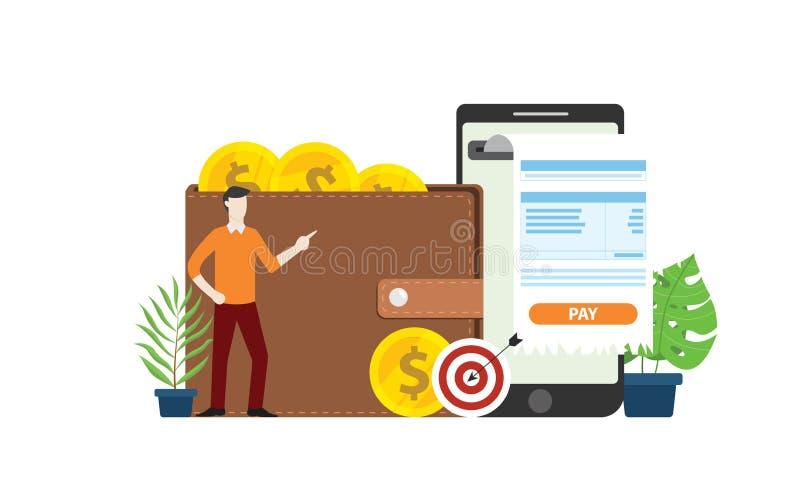Tecnología en línea móvil del pago con la gente del hombre de negocios con el dinero de la moneda de la factura y de oro en el wa libre illustration