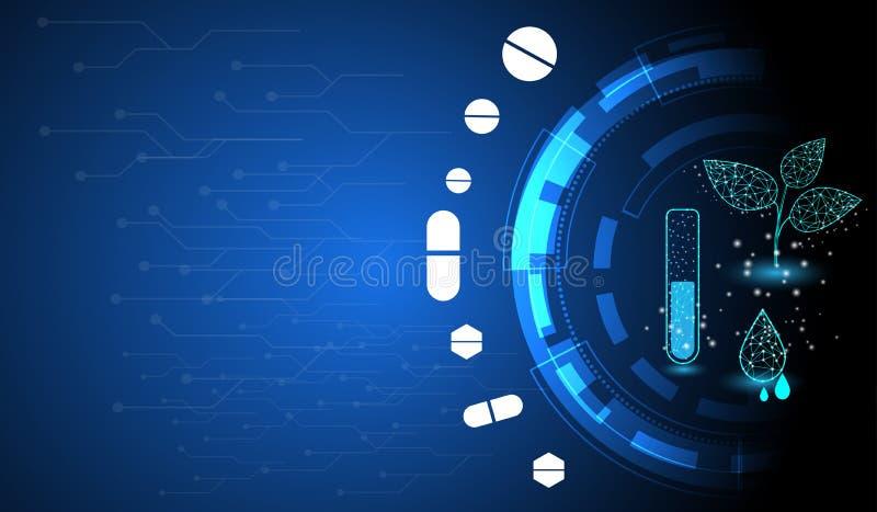 Tecnología farmacéutica usando las plantas medicinales para extraer concepto importante de las sustancias stock de ilustración