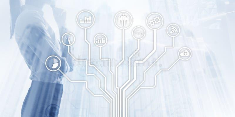 Tecnología financiera del negocio usando concepto de la vida de la libertad de Internet Iconos de los usos en fondo borroso Icono ilustración del vector